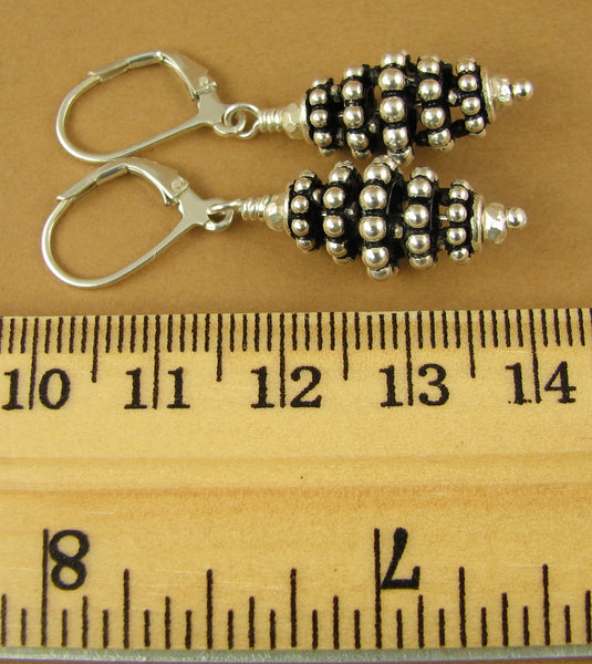 Fancy silver earrings. Long cone shape. Leverback.Sterling silver 925. Handmade.