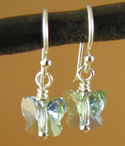 Crystal butterfly earrings made w/ swarovski elements. Sterling silver.