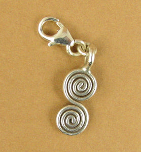 Double coiled spiral clip-on charm. Handmade. Fine and sterling silver 925.