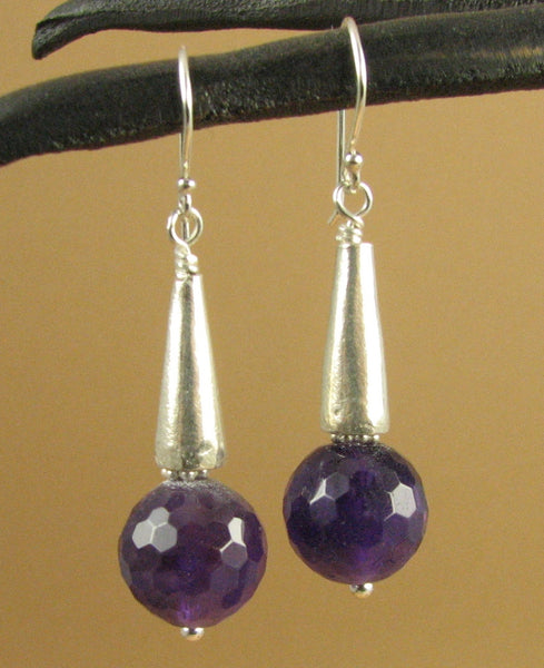 Amethyst and silver large dangle earrings. Fine & sterling silver.