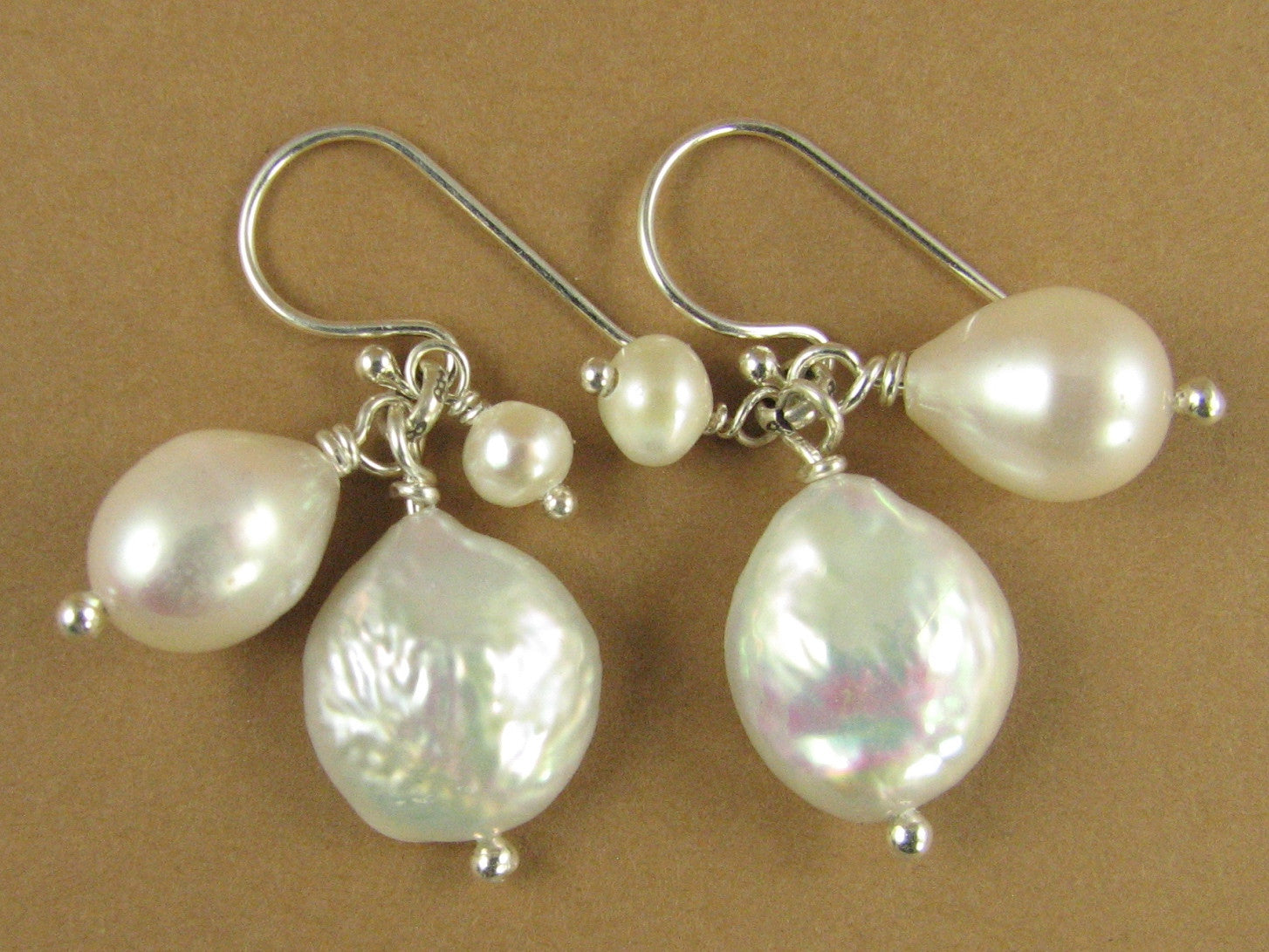 Pearl and silver cluster earrings. Sterling silver. Designer handmade.