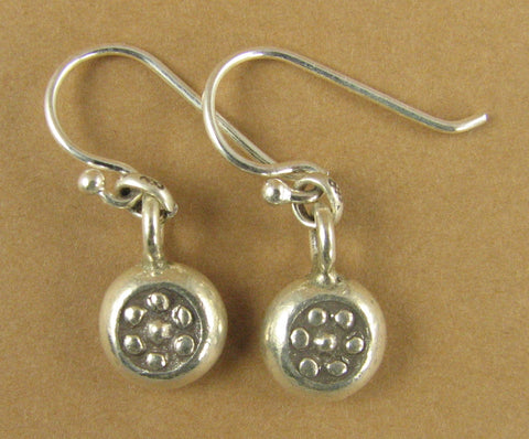 Silver button earrings w/ dots. Round disc. Fine silver. Sterling silver hooks.