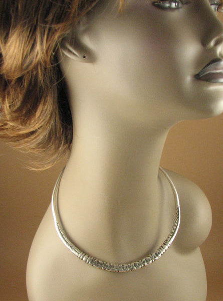 Old silver choker. Solid fine silver. Indian tribal, Rajasthan. Antique.