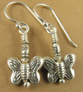 Butterfly and flower drop earrings. Fine silver. Sterling silver hooks.
