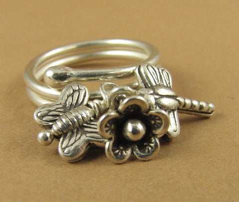 Ring with dragonfly, butterfly, flower. Fine/sterling silver. Adjustable, fits all sizes.