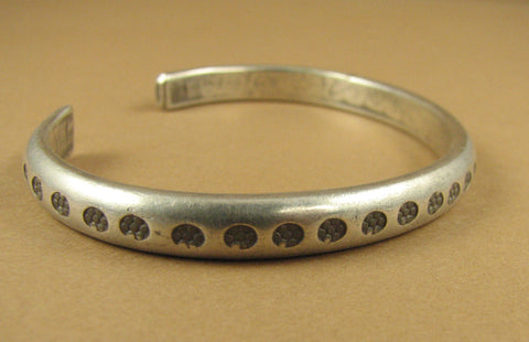 Solid fine silver bangle/ bracelet. Flower pattern. Tribal. Extremely pure. Handmade.
