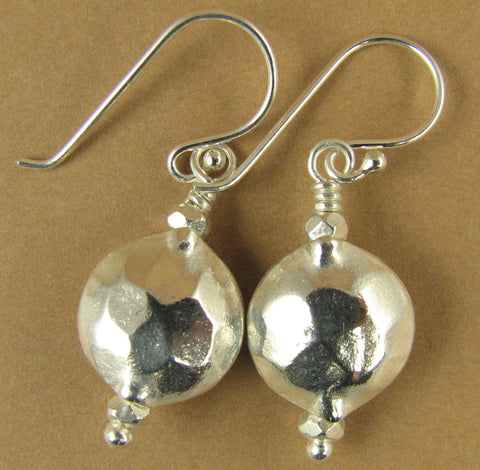 Hammered rounded earrings. Double sided. Fine silver. Sterling silver hooks.
