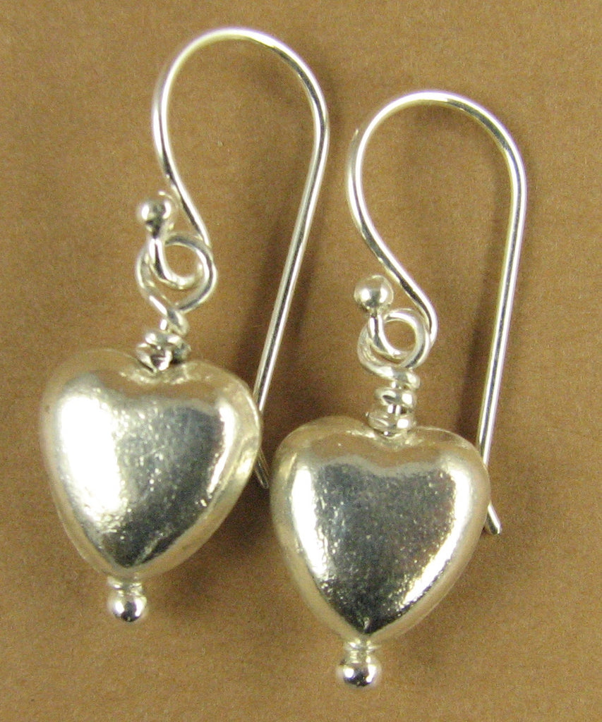 Simple heart earrings. Double sided. Fine silver. Sterling hooks.
