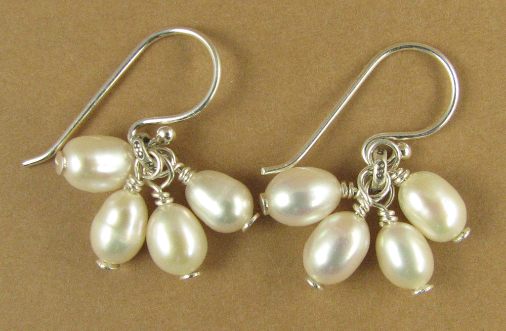 Small pearl cluster earrings. White or peach. Real pearls. Sterling silver.