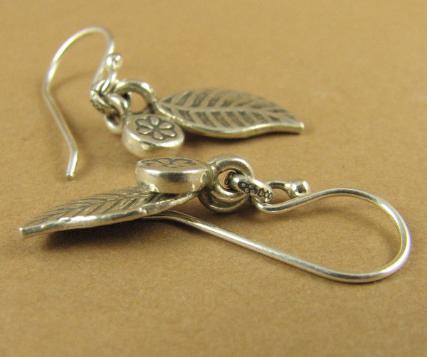 Silver leaf and flower charm earrings. Fine & Sterling silver.