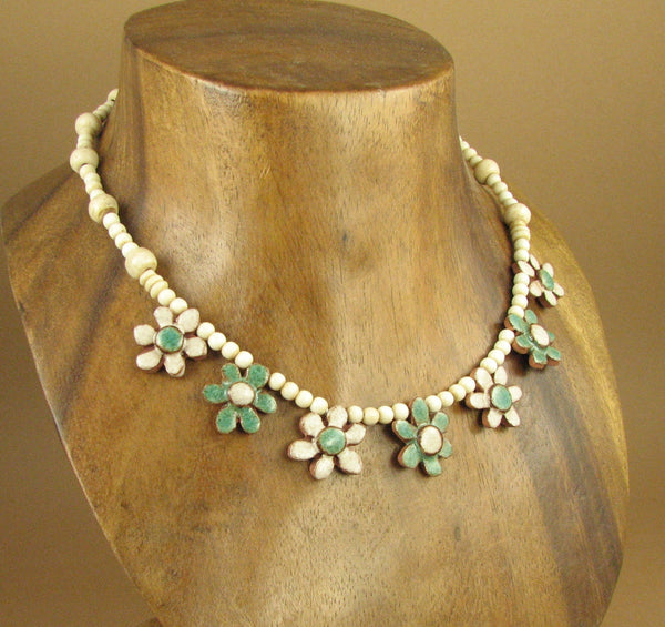 Ceramic flower necklace. Sterling silver. Designer handmade.