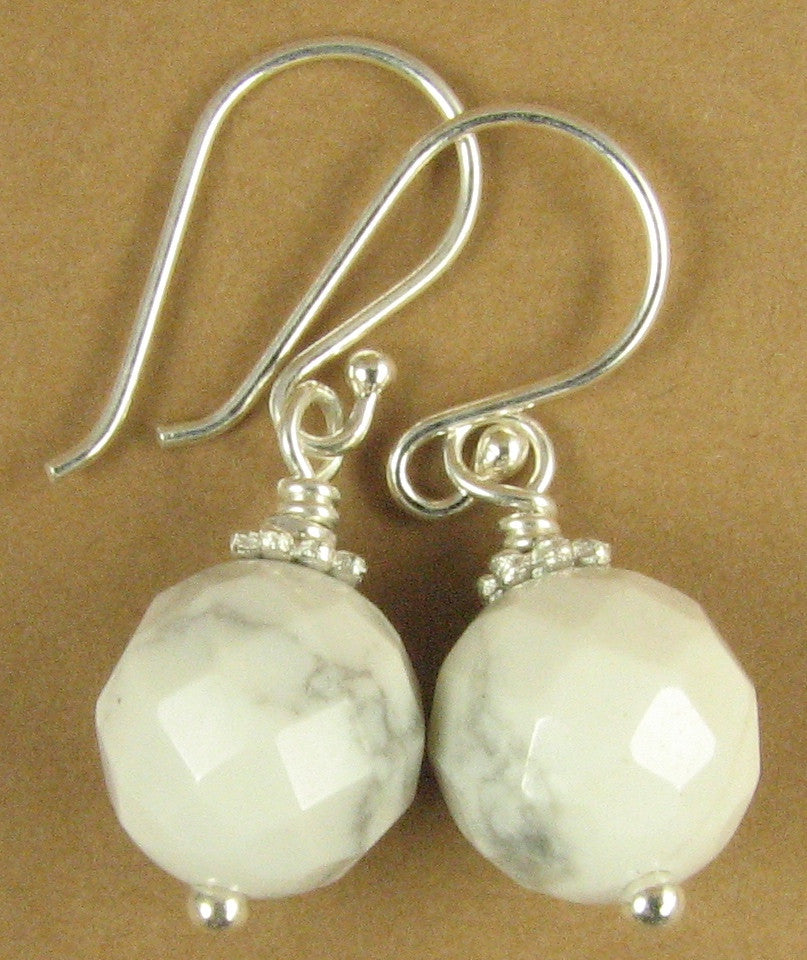 White howlite earrings. Faceted. Grey flecks. Sterling silver hooks.