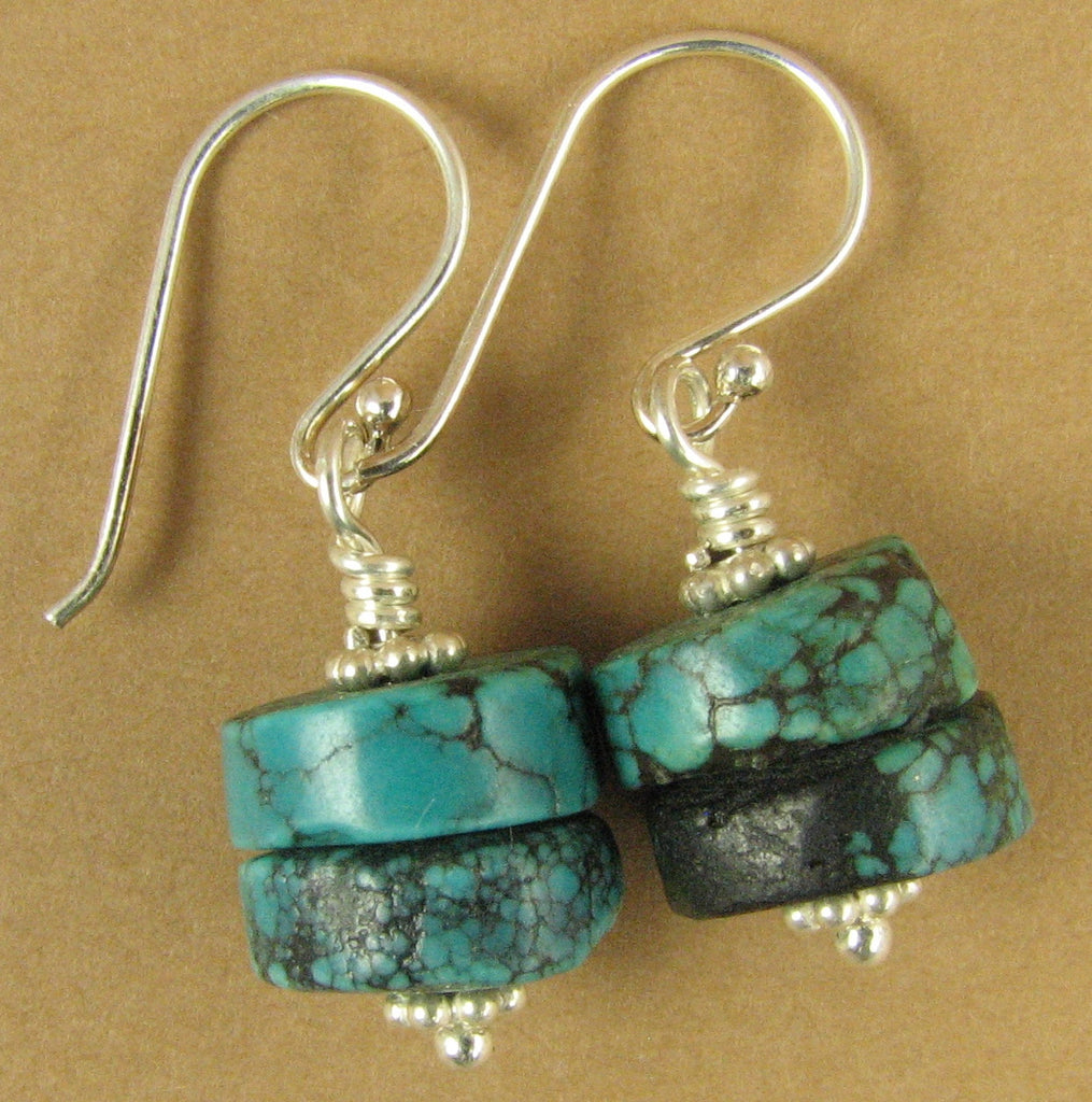 Chunky turquoise earrings. Blue/green. Natural real turquoise. Sterling silver.