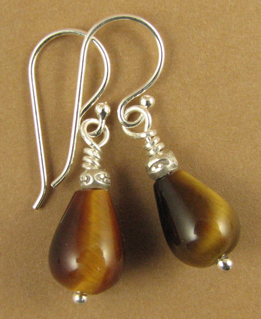 Tiger eye earrings.Brown. Teardrop /pear. Fire. Sterling silver.