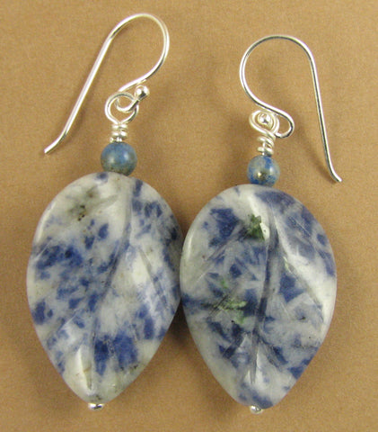 Blue and white sodalite leaf earrings. Curvy. Natural stone. Sterling silver.