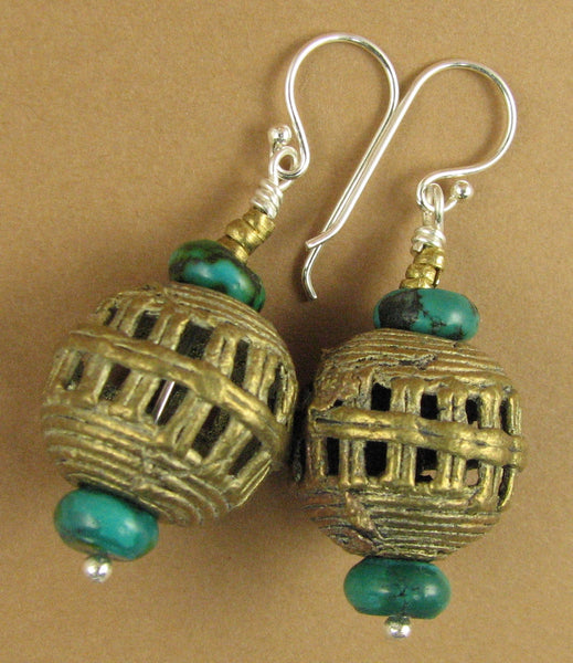 African bead earrings with turquoise. Copper/brass. Sterling silver.