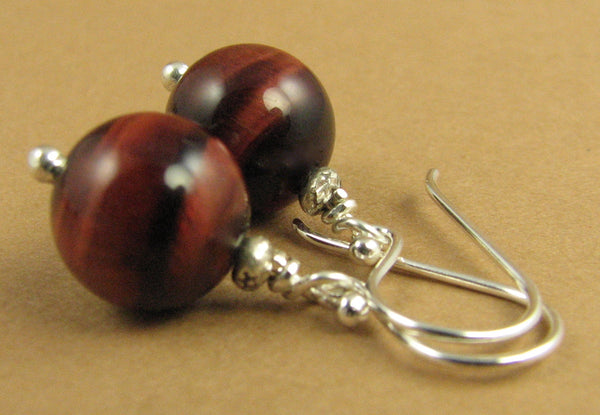 Red tiger eye earrings. Round. Natural fire. Sterling silver.