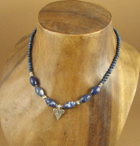 Sodalite and pendant necklace. Blue. Fine and sterling silver. Handmade.