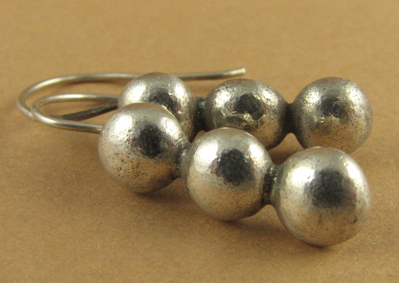 Three dots long silver earrings. Solid fine/sterling silver. Tribal.