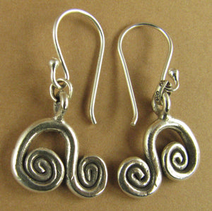 Curvy spiral 'music note' fine silver earrings. Sterling silver hooks.