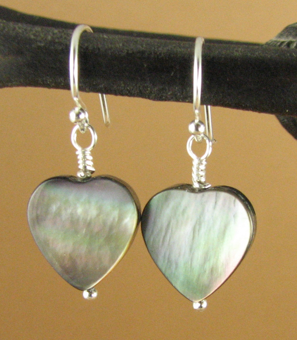 Black shell earrings. Hearts. Rainbow iridescent. Sterling silver 925.