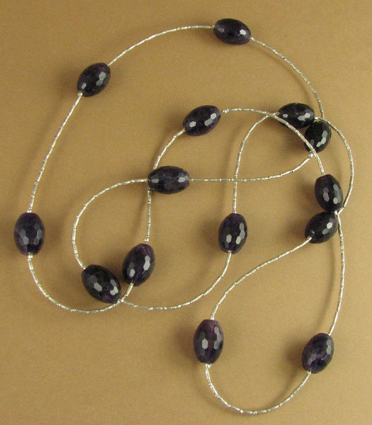 "Very long amethyst necklace. 34""/86cm. Faceted. Fine & sterling silver 925."