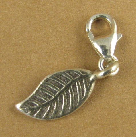 Curvy leaf clip-on charm. Solid fine and sterling silver 925