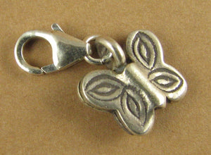 Butterfly clip-on charm. Double-sided. Solid fine and sterling silver 925.