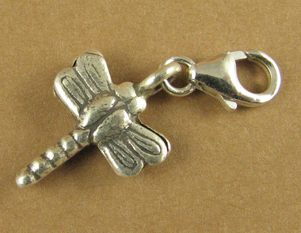 Dragonfly clip-on charm. Double-sided. Solid fine and sterling silver 925.