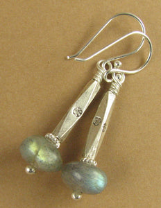 Labradorite earrings. Long. Blue green. Fire. Hilltribe and sterling silver 925