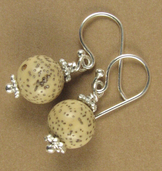 Tibetan lotus seed earrings. Small, cream/white. Sterling silver 925.