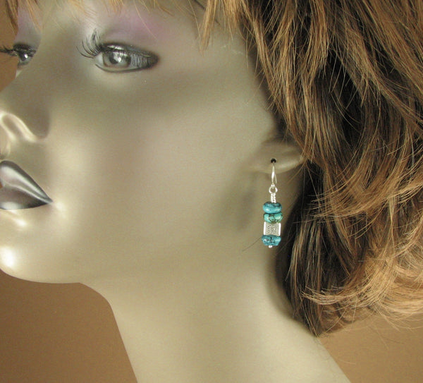 Turquoise stone earrings. Square bead. Big. Fine & Sterling silver 925.