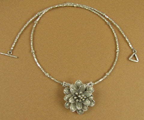 Flower necklace. Hill tribe solid fine and sterling silver 925. Handmade.