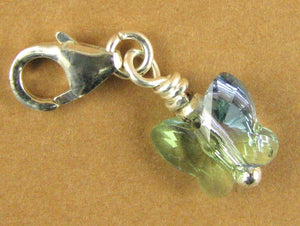 Butterfly crystal clip-on charm. Made with Swarovski elements. Green/blue. Silver 925