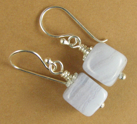 Blue-lace agate earrings. Light blue. Nuggets. Sterling silver 925. Handmade.
