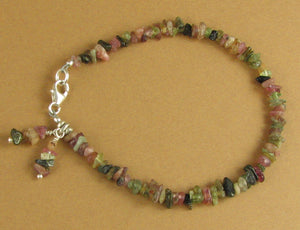 Tourmaline bracelet with dangles. Pink, green. Fine & sterling silver.