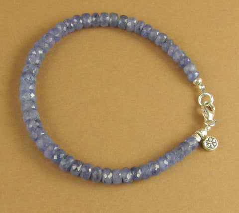 Sapphire bracelet. Light blue.Flower charm. Sterling silver 925. Handmade.