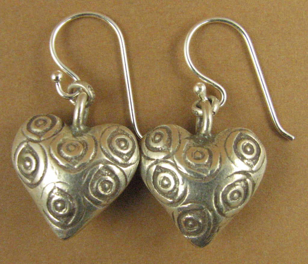 Heart earrings with swirls. Big. Rounded. Fine silver. Sterling hooks 925.