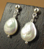 Pearl earrings. Coin/disc  shape. Sterling silver. Dangle with studs. Handmade