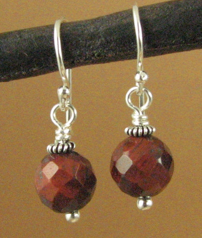 Red tiger eye earrings. Small, round, faceted. Sterling silver 925. Handmade.