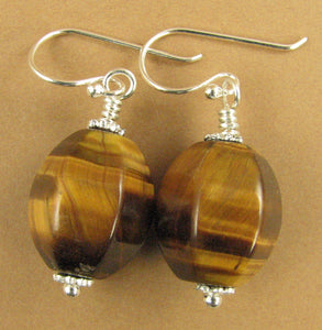 Brown tiger eye earrings. Big. Natural fire. Sterling silver 925. Handmade.