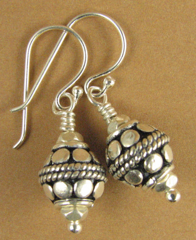 Silver fancy Indian bead earrings. Round, patterned. Sterling silver 925.