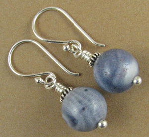 Blue coral earrings. Round. Real coral. Light blue. Sterling silver 925.