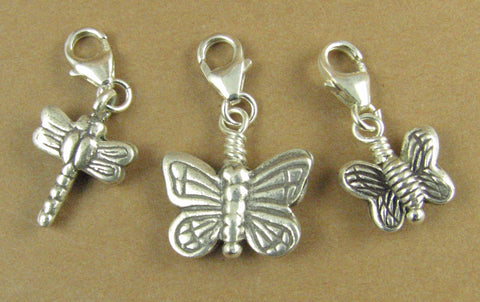 Butterfly / dragonfly clip-on charm. Secure lobster clasp.Sterling silver 925.