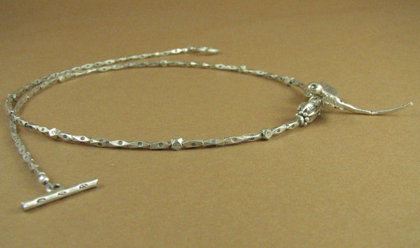 Dragonfly silver necklace. Solid fine and sterling silver 925. Handmade.
