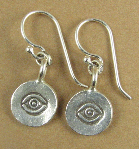 Round flat disc earrings with eye design. Solid sterling silver 925.
