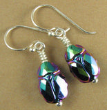 Scarab beetle crystal earrings. Sterling silver. Made w/ Swarovski Elements.