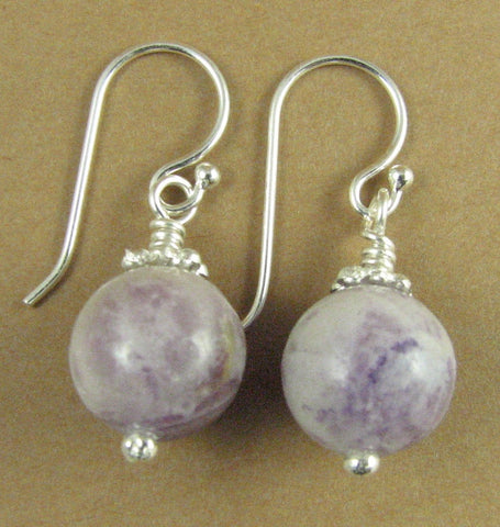 Charoite earrings. Light purple, lavender, mauve. Round. Sterling silver 925.