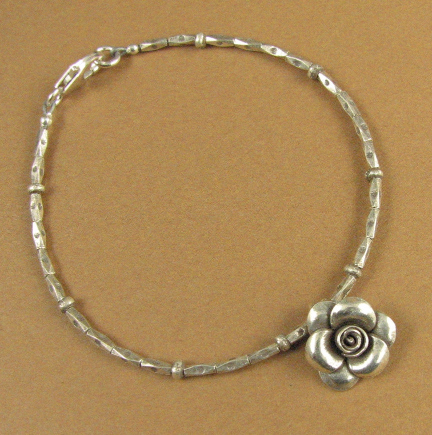 Flower charm bracelet. Solid silver. Small rose. Sterling 925. Handmade.