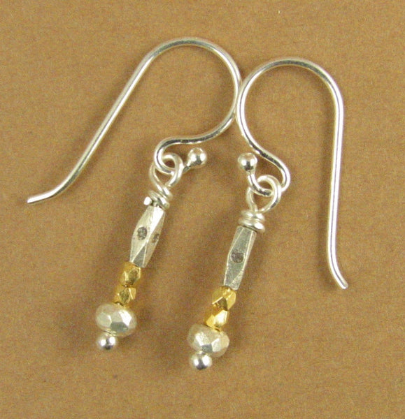 Gold and silver earrings. Real gold. Fine and sterling silver 925. Handmade.